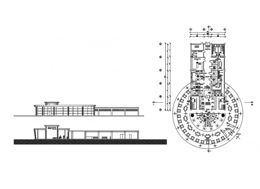 Restaurant with bar and club elevation and plan details dwg file