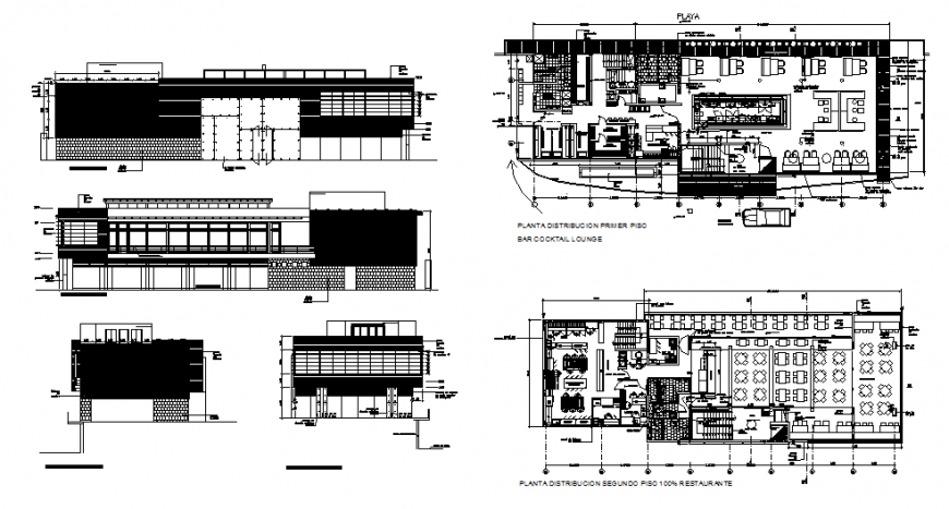Restaurant with bar and cocktail lounge elevation, section and floor plan details dwg file