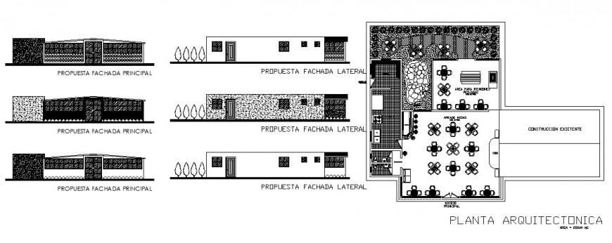 Restaurant with bar and green area elevation, section and plan cad drawing details dwg file