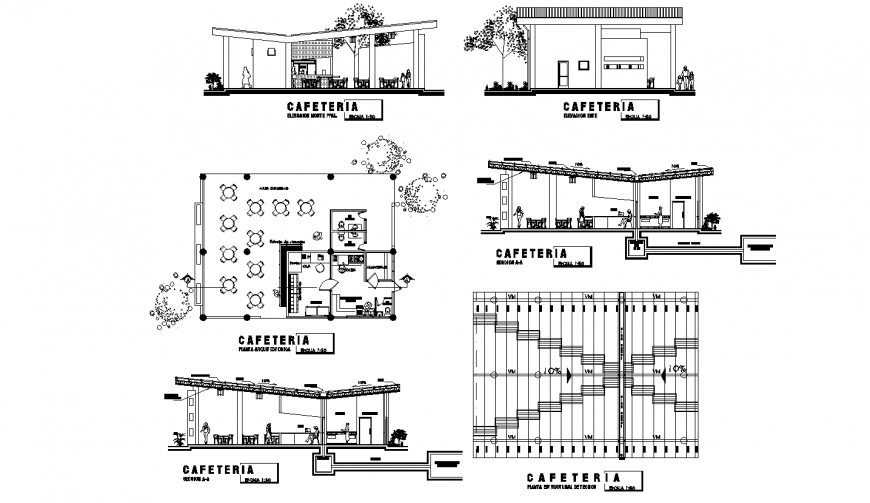 Restaurant with cafeteria elevation, section, floor plan and auto-cad drawing details dwg file