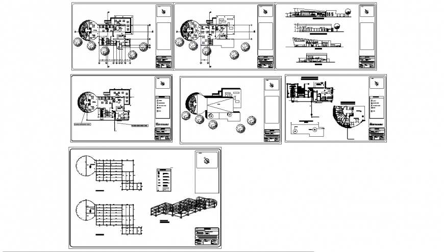 Restaurant with cafeteria elevation, section, plan and constructive structure details dwg file