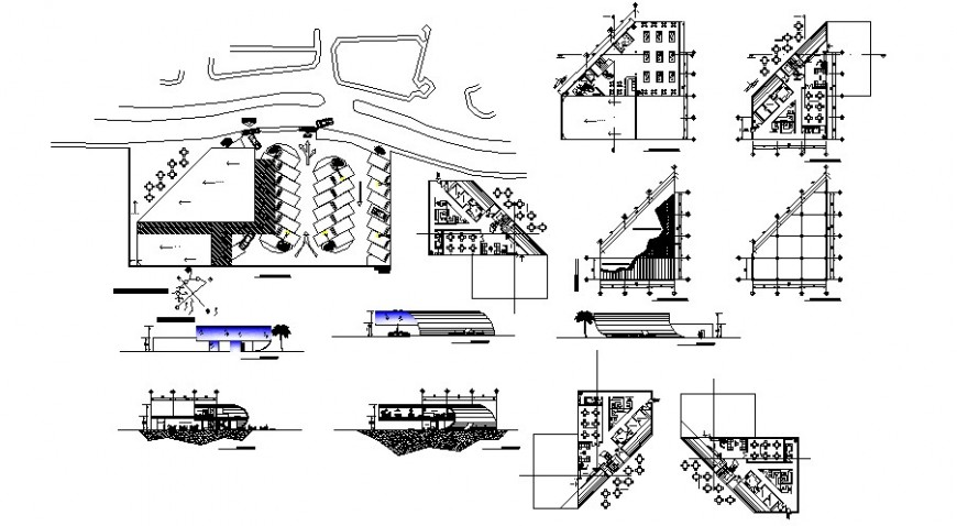 Restaurant with fun center elevation, section and floor plan cad drawing details dwg file