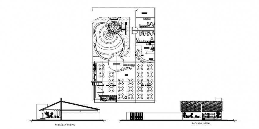 Restaurant with party hall elevation, section and plan cad drawing details dwg file
