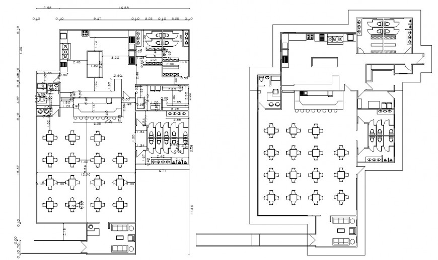 Restaurant working plan drawing in dwg file.