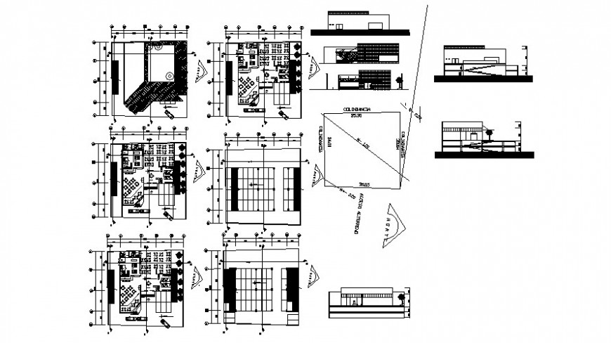 Restaurants building plan elevation and section dwg autocad file