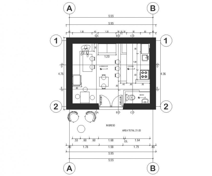 Resto bar plan detail drawing in dwg file.
