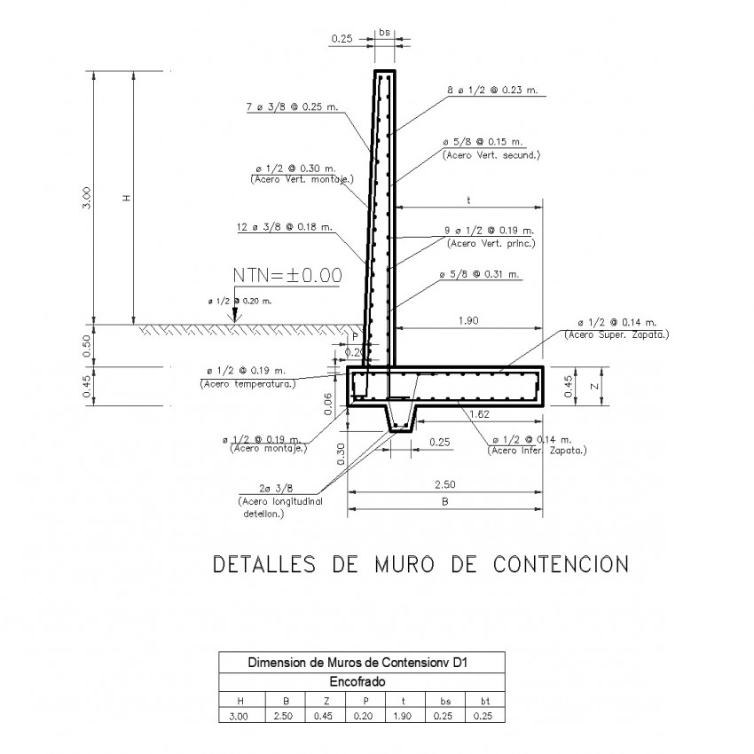 Retaining wall section plan layout file