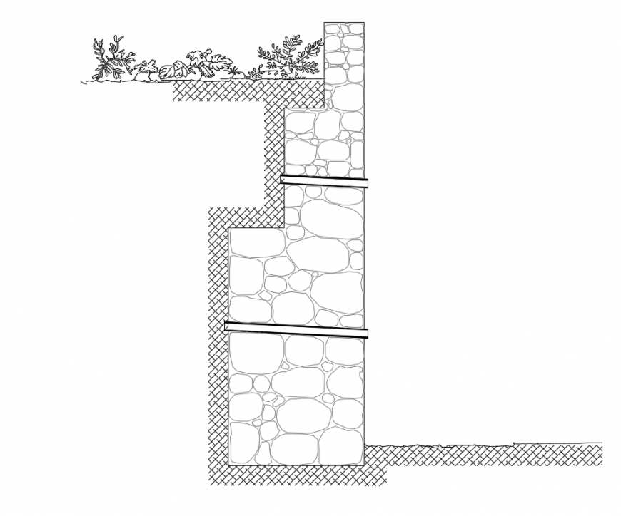 Retaining wall section with construction view dwg file