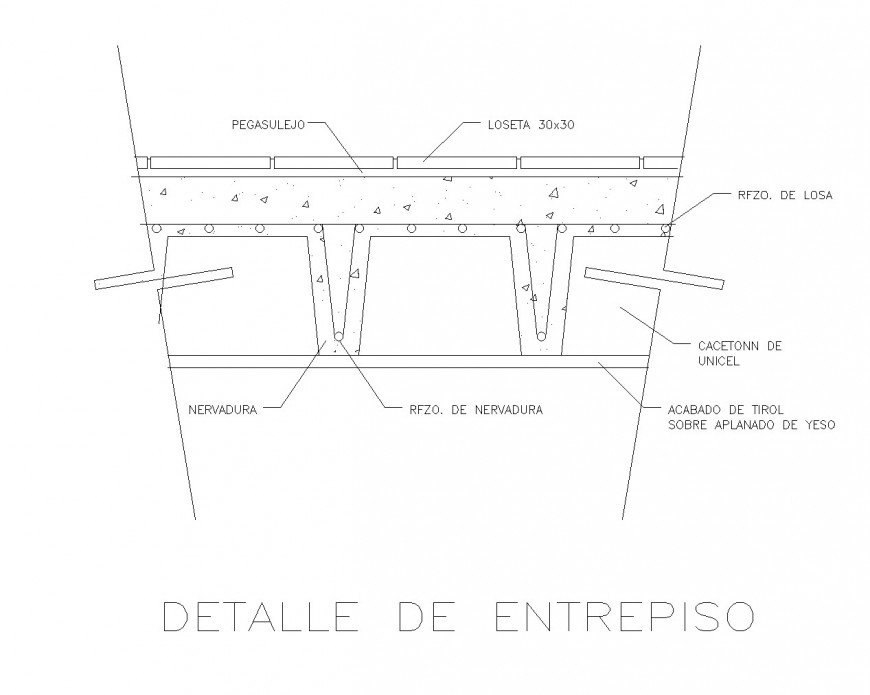 Reticular slab section plan detail dwg file