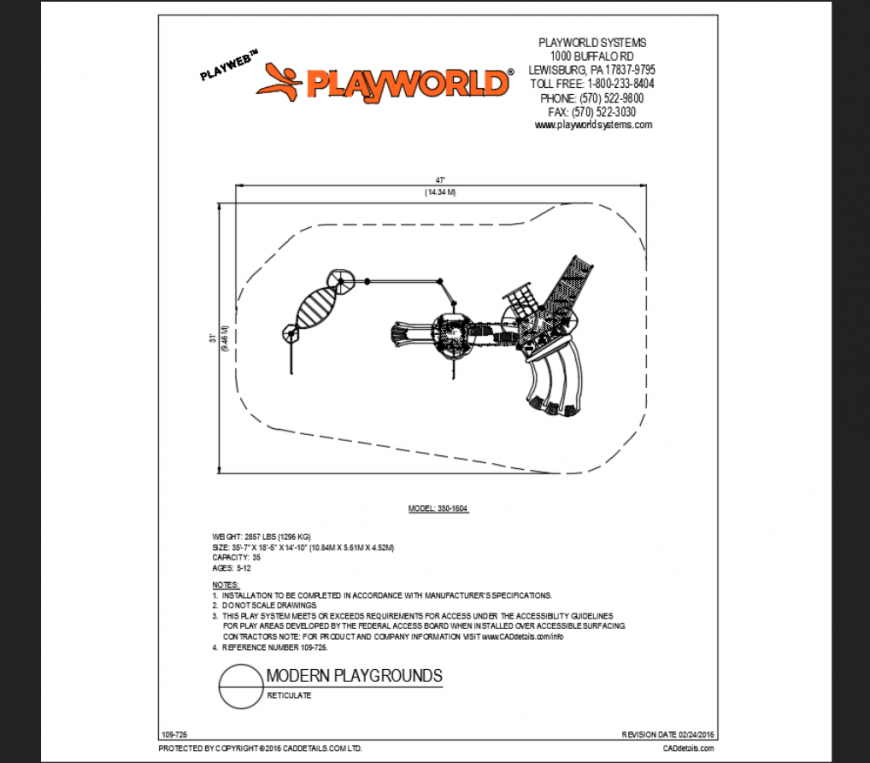 Reticulate modern play ground play area themed park structure details dwg file