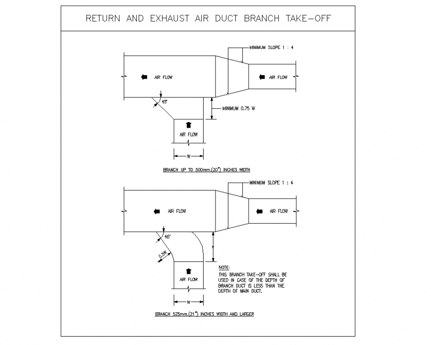 Return And Exhaust Air Duct Branch Take off detail dwg file