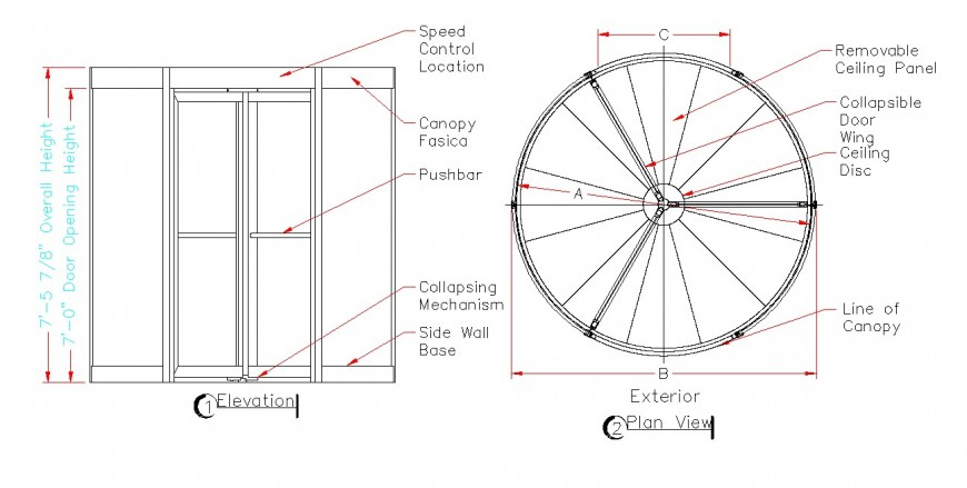 Revolving door detail elevation and plan 2d view CAD block layout autocad file