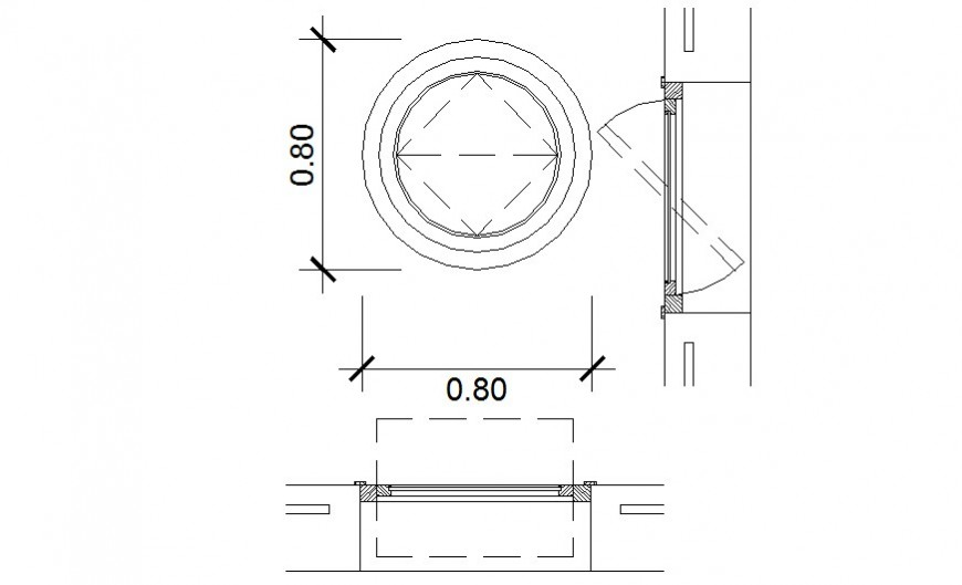 Revolving door detail elevation and plan autocad file