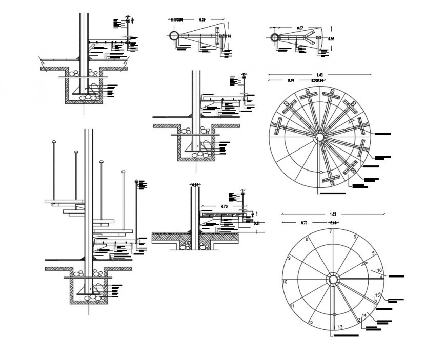 Revolving door section and plan detail 2d view CAD block autocad file