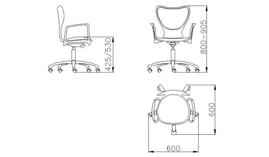 Revolving office chair all sided elevations block cad drawing details dwg file