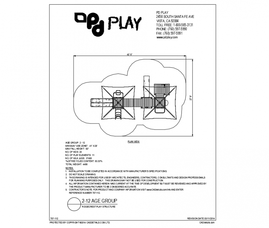 Ridgecrest play structure of equipment cad drawing dwg file