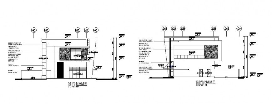 Right and left side elevation details for club house details dwg file