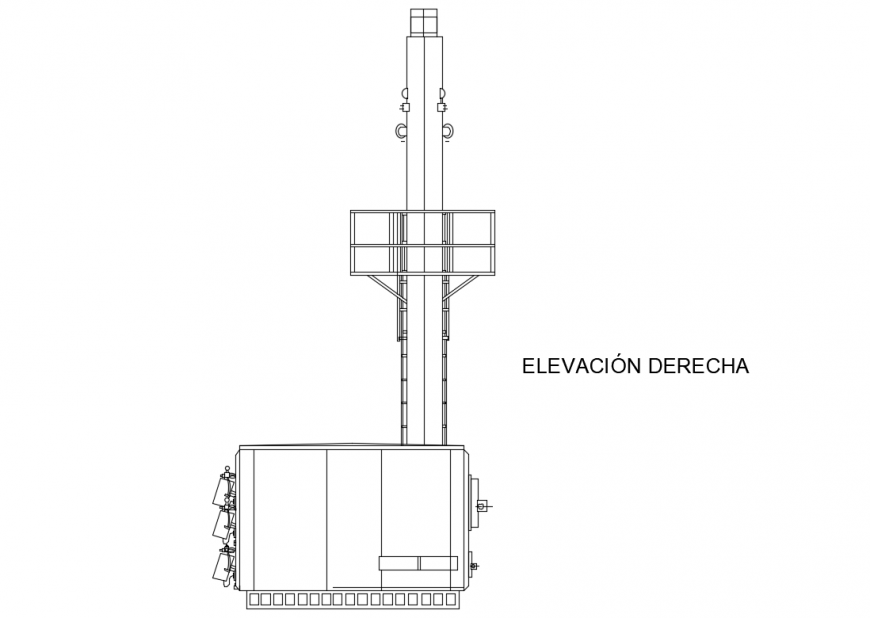 Right elevation block details of patient chair dwg file