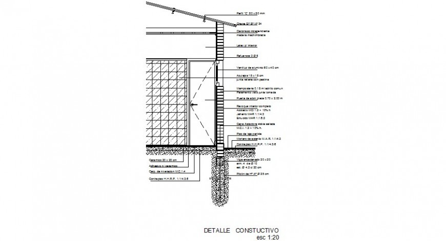 Right side constructive cut sectional drawing details of house dwg file