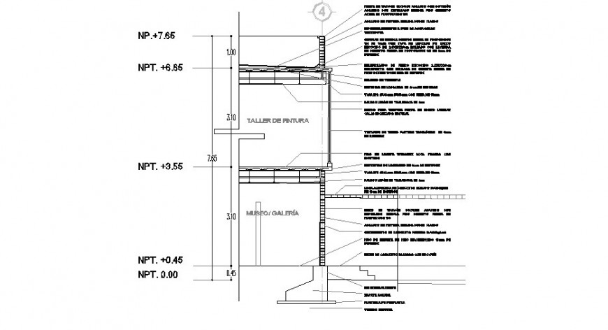 Right side cut section constructive structure cad drawing details dwg file
