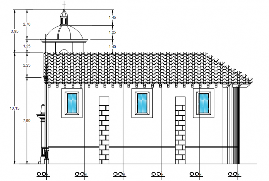 Right side elevation drawing details of religious church dwg file
