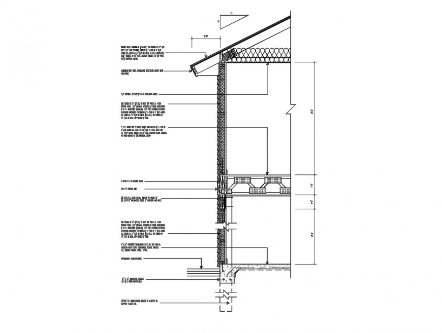 Right side front constructive section drawing details of house dwg file