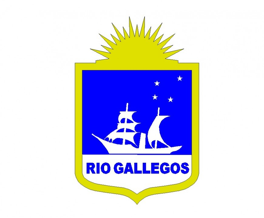 Rio gallegos Logo and symbol detail 2d view CAD blocks layout autocad file