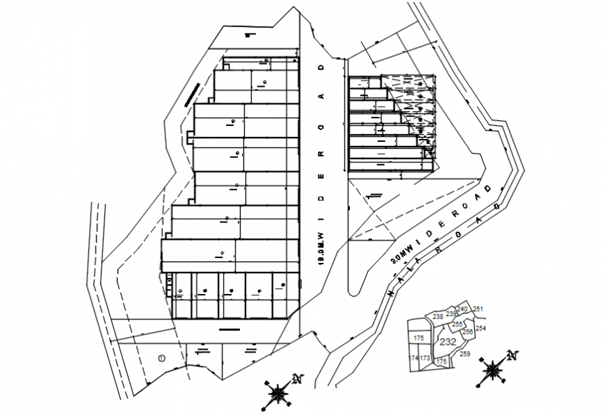 Road sectional top view plan