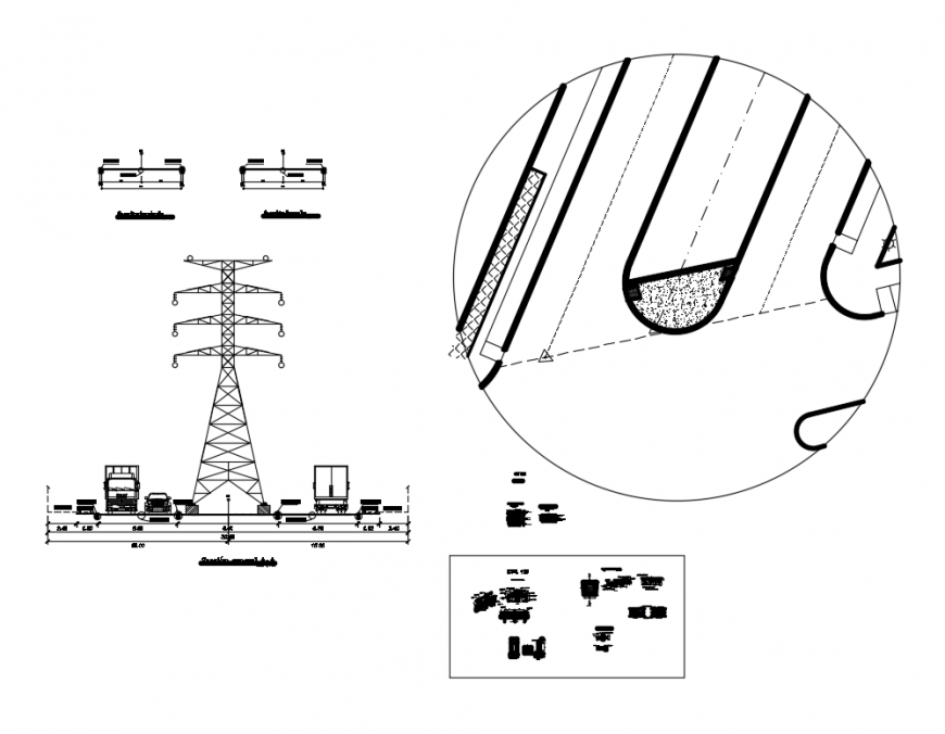 Road side electrical tower sectional and auto-cad details dwg file