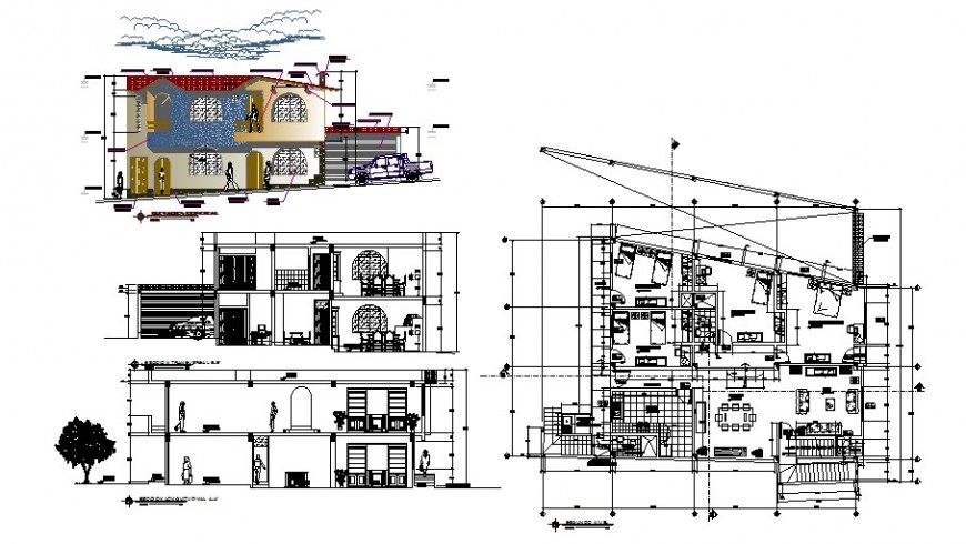 Road side house detail drawing in AutoCAD file.
