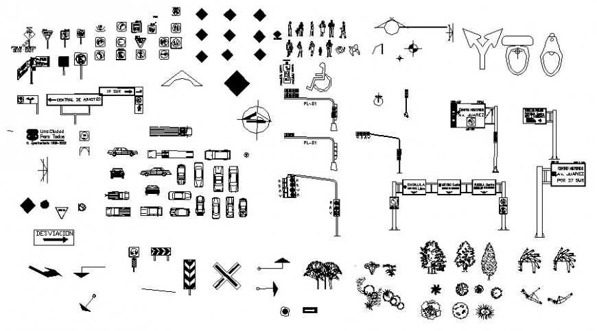 Road signs and symbols blocks with other details autocad file