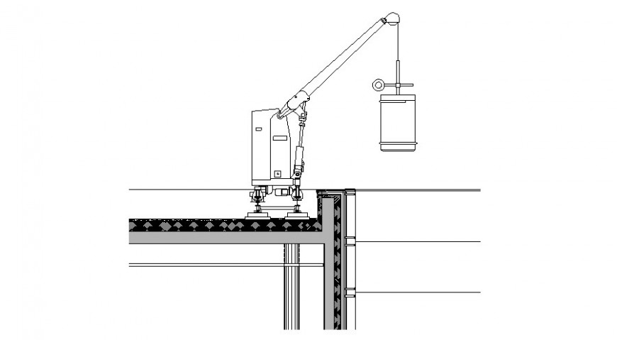 Robot crane drawing in dwg file.