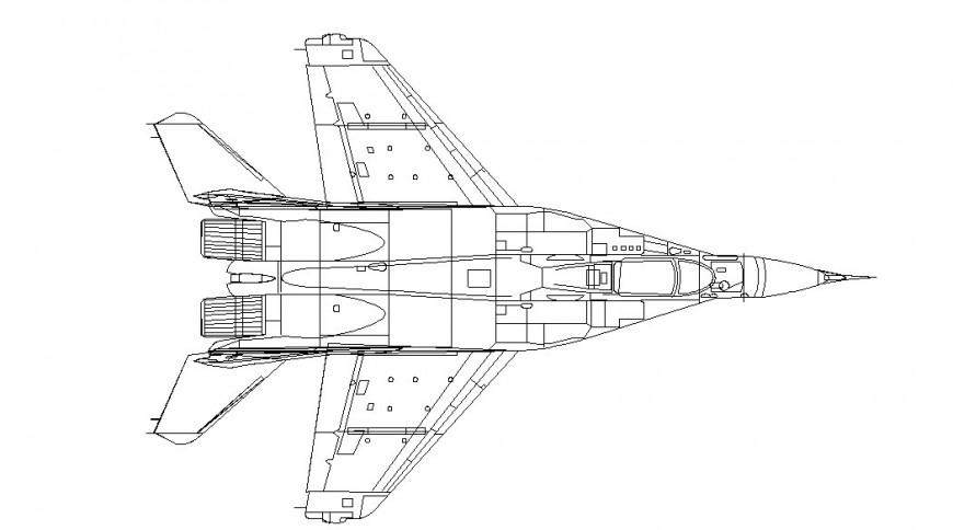 Rocket back view detailing, 2d model design dwg file