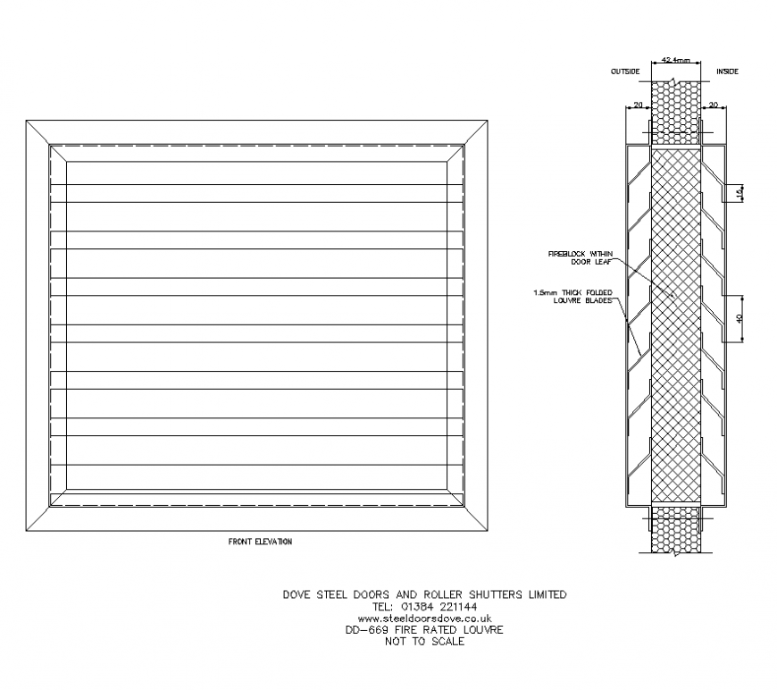 Roller shutter detail elevation and plan layout dwg file
