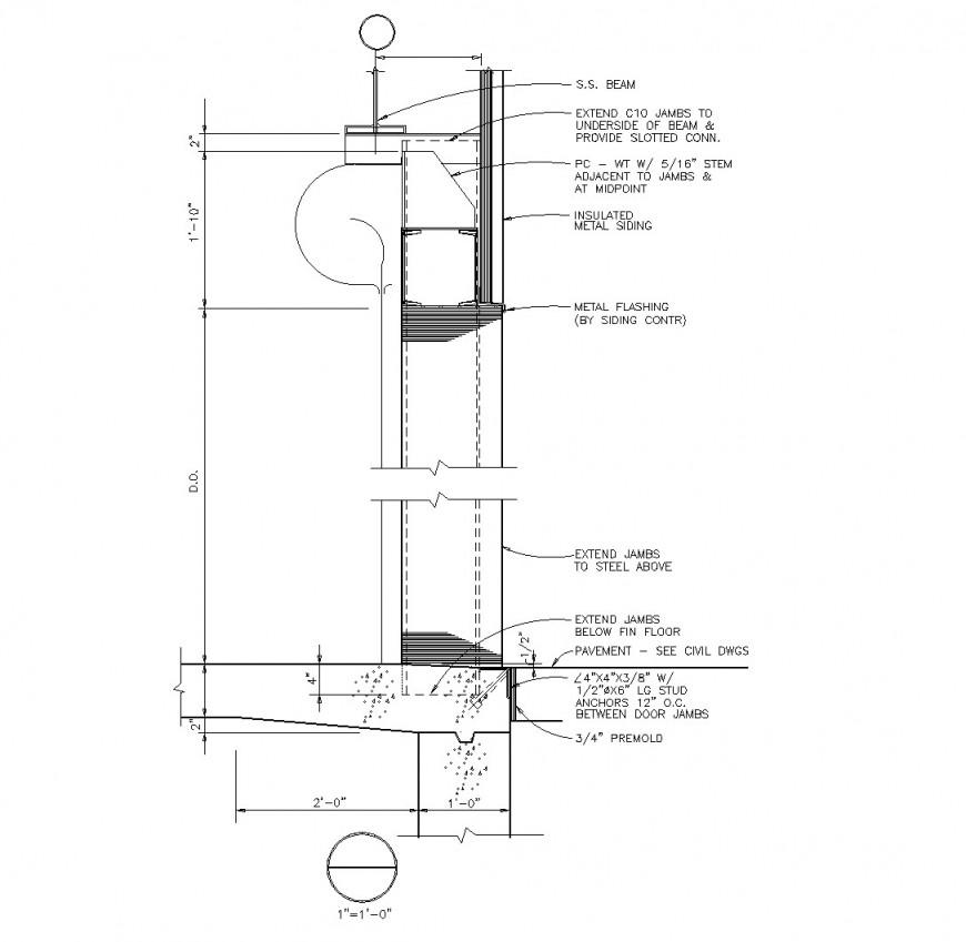 Roller shutter door section plan dwg file
