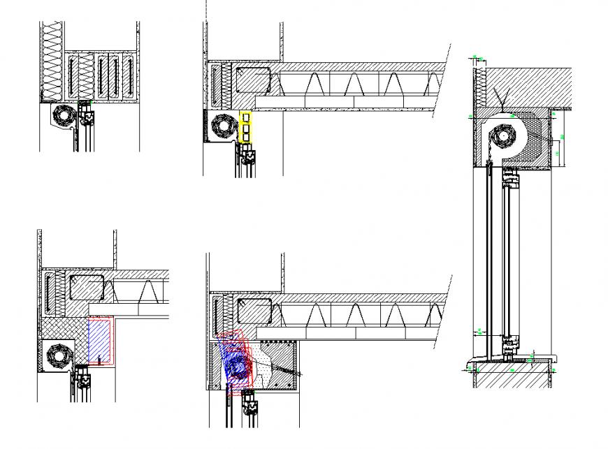 Roller shutters section plan detail dwg file