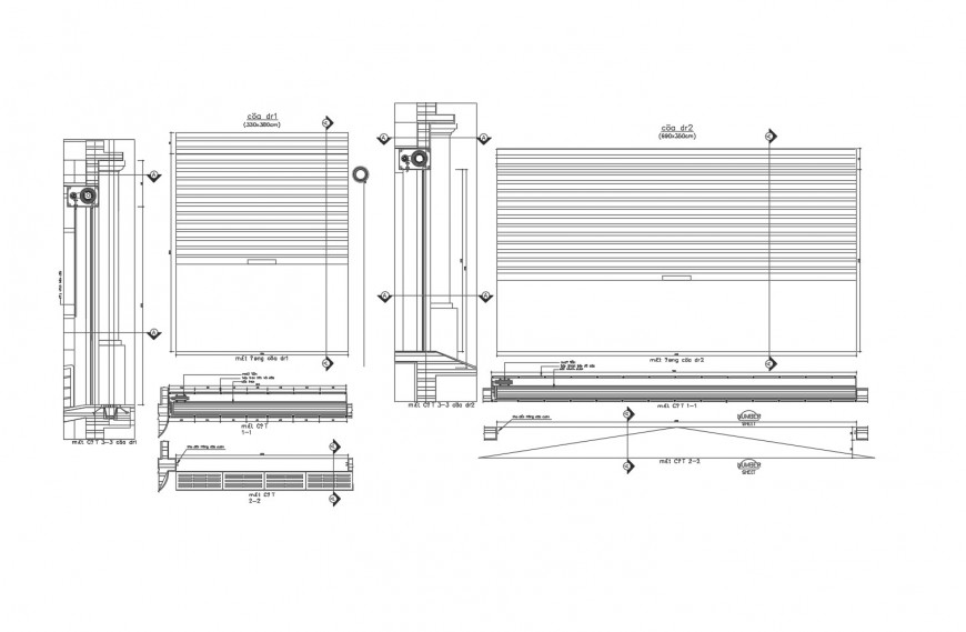 Rolling door elevation and installation cad drawing details dwg file