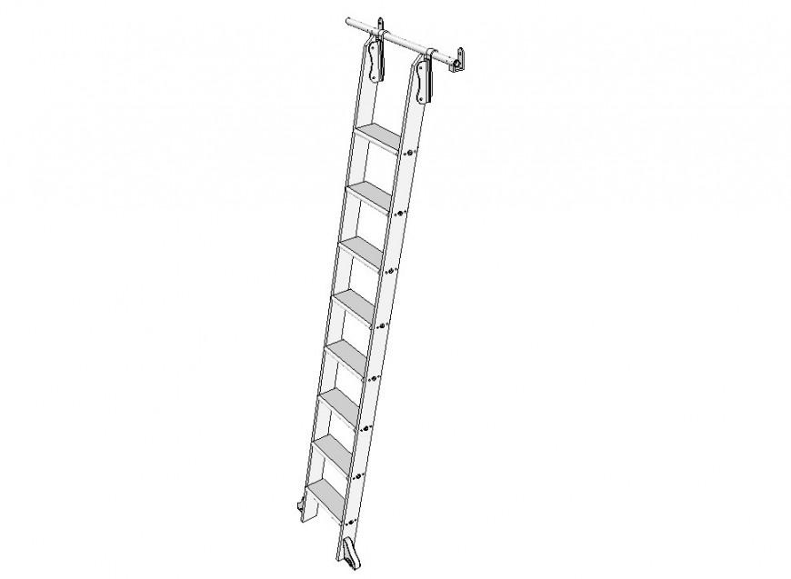 Rolling ladder front 3d model dwg file