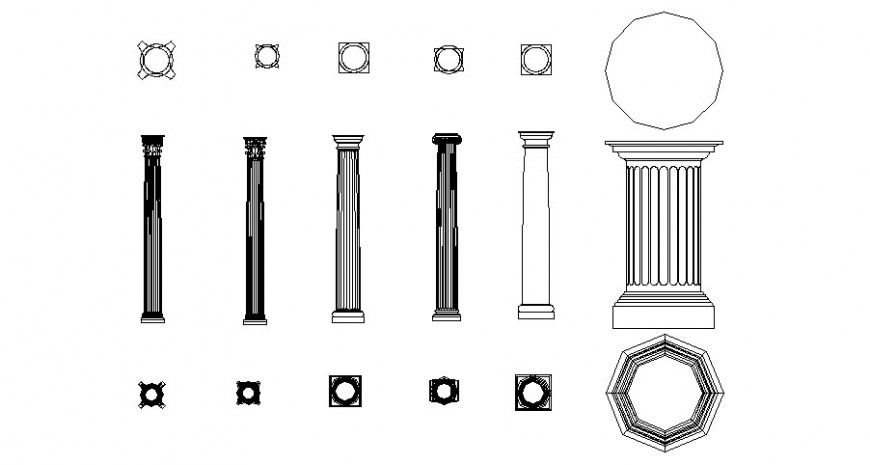 Roman art designer column plan elevation and bottom view in auto cad