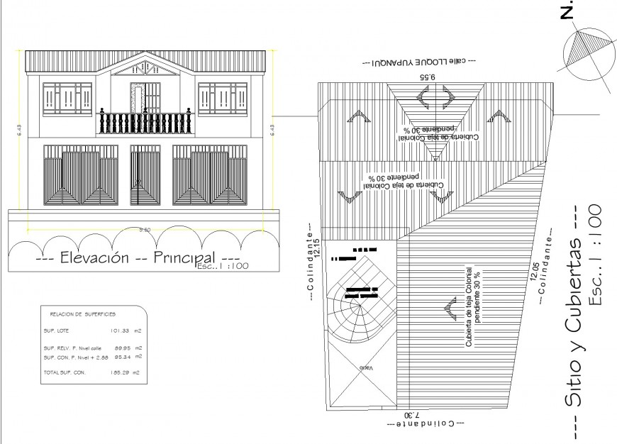 Roof and elevation home plan detail dwg file
