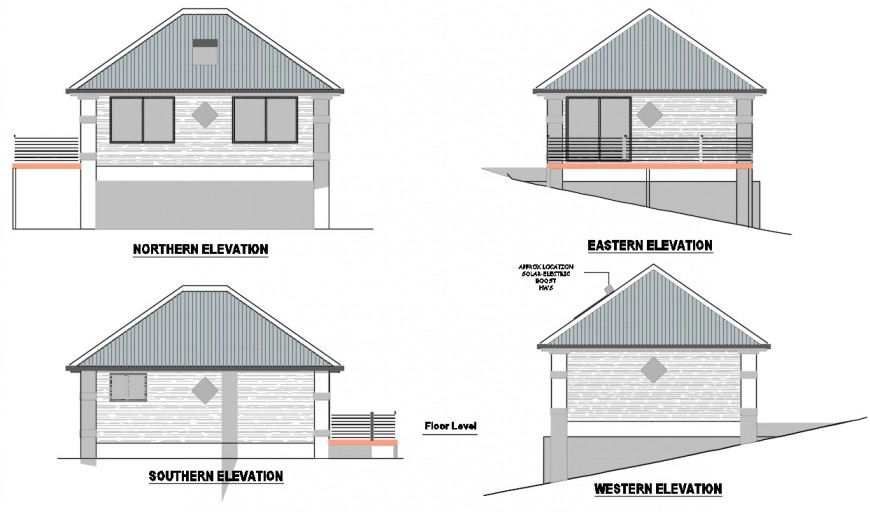 Roof house all four sided elevation cad drawing details dwg file