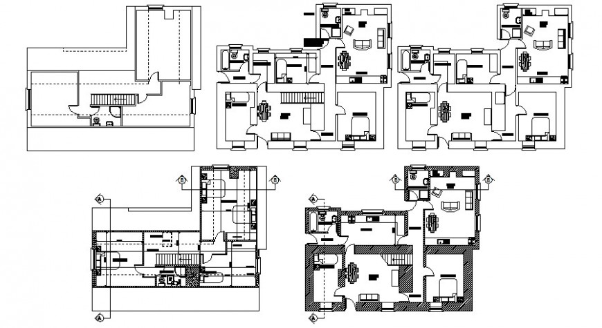 Roof house distribution plan with furniture layout cad drawing details dwg file