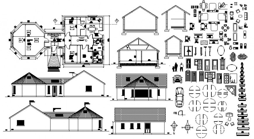 Roof house elevation, section, plan and furniture blocks drawing details dwg file