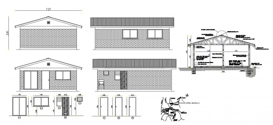 Roof house elevation, section and door details dwg file
