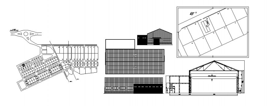 Roof house elevation, section and site plan cad drawing details dwg file