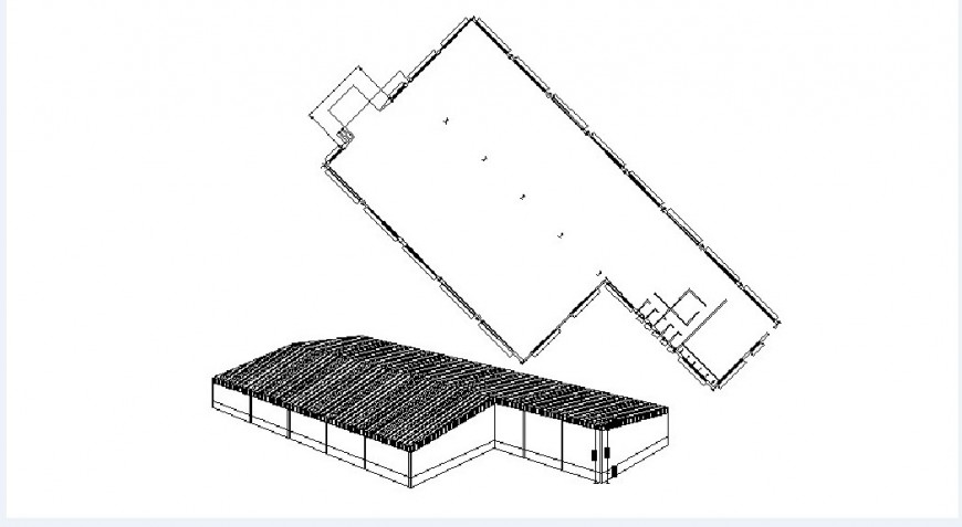 Roof house elevation and structure cad drawing details dwg file