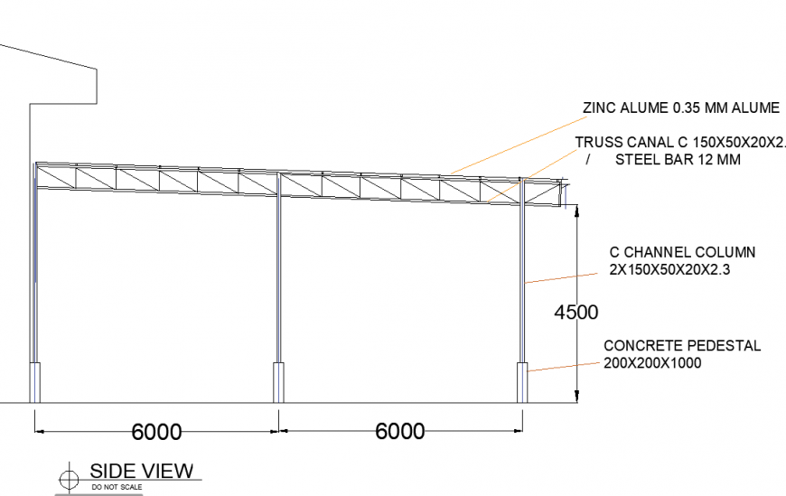 Roof house side view autocad file