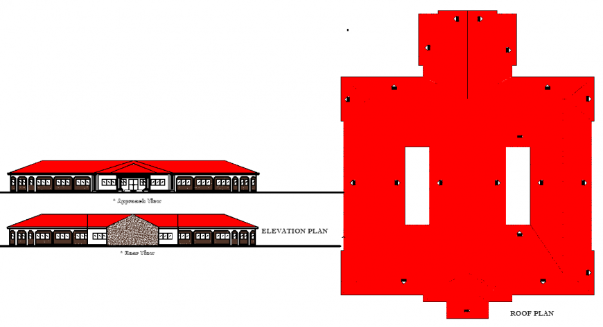 Roof layout plan of collage building drawing in dwg AutoCAD file.