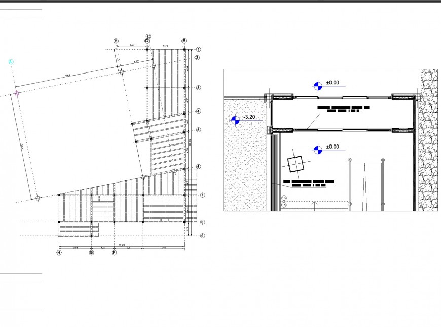Roof plan and section geodesic gallery plan layout file