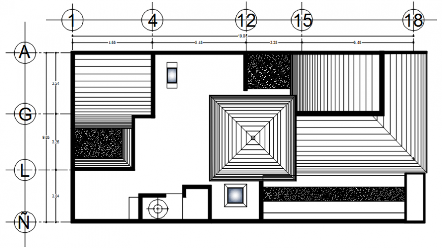 Roof plan of a house dwg file